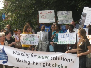 Hazel Jones-Hamilton, Vice President of Hazelwood Chapter of ACTION United, speaks at a rally before the first ALCOSAN public comment meeting in August 2012.