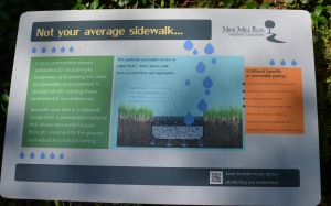 A sign at the permeable pavement on Trenton Avenue explains how the installation works.